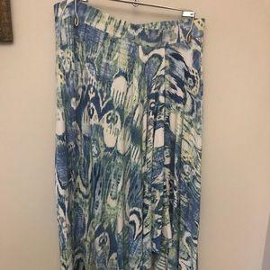 Blue cream green Ikat Print asymmetric hem skirt 0